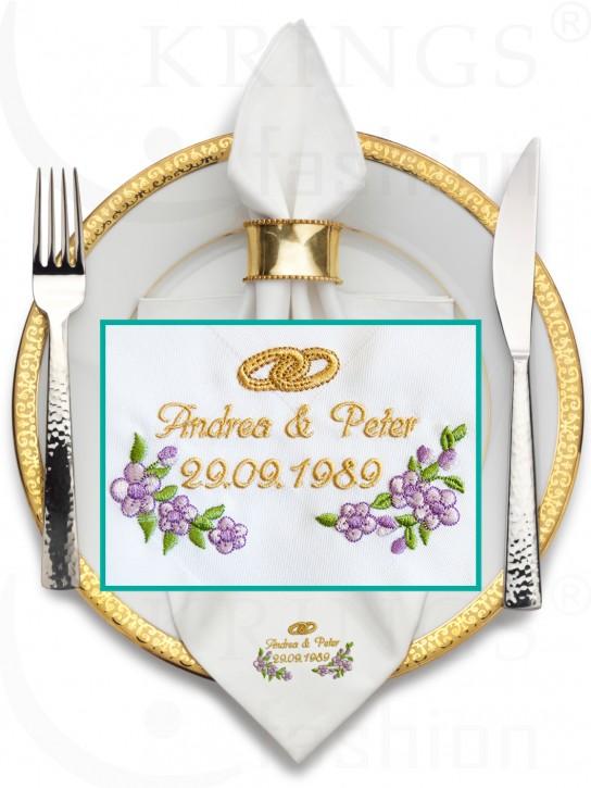 Serviette-Hochzeit, weisse Stoffservietten, Ringe