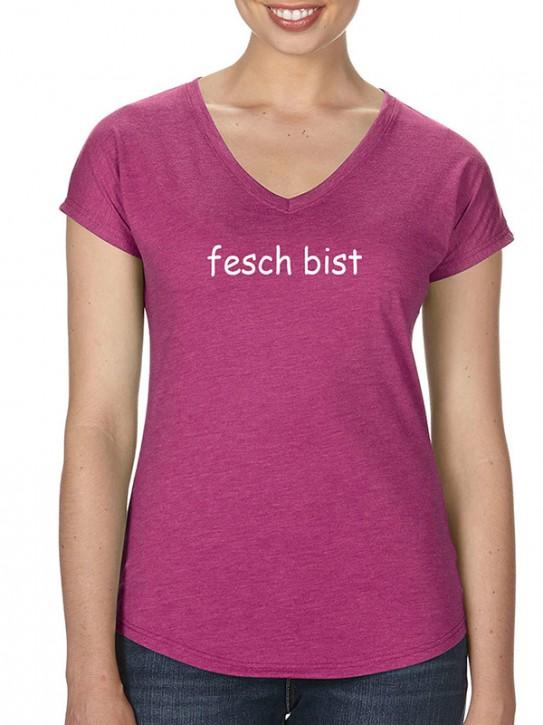 T-Shirt mit Spruch - fesch bist - Bayerisch Damen Himbeere-meliert