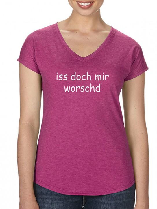 T-Shirt mit Spruch - iss doch mir worschd Fränkisch, Da. Himbeere-mel.
