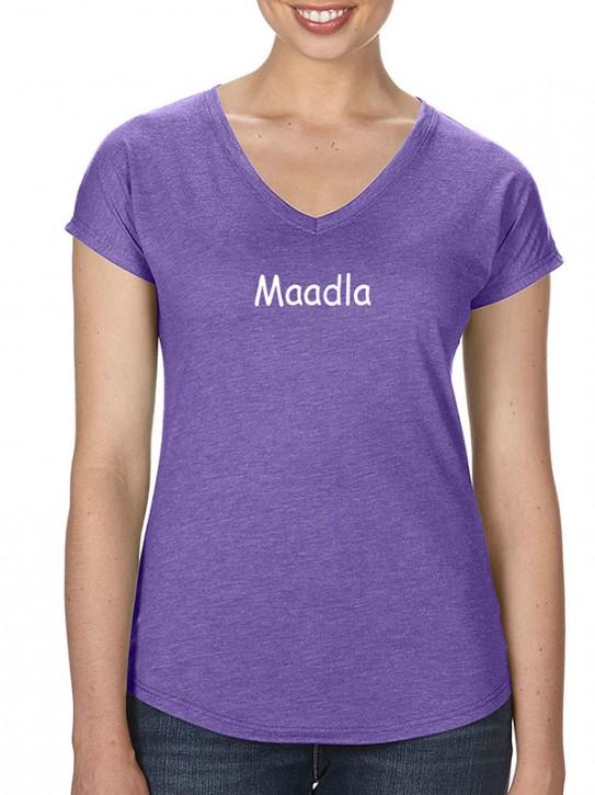 T-Shirt mit Spruch - Maadla - Fränkisch, Damen, Lila-mel.