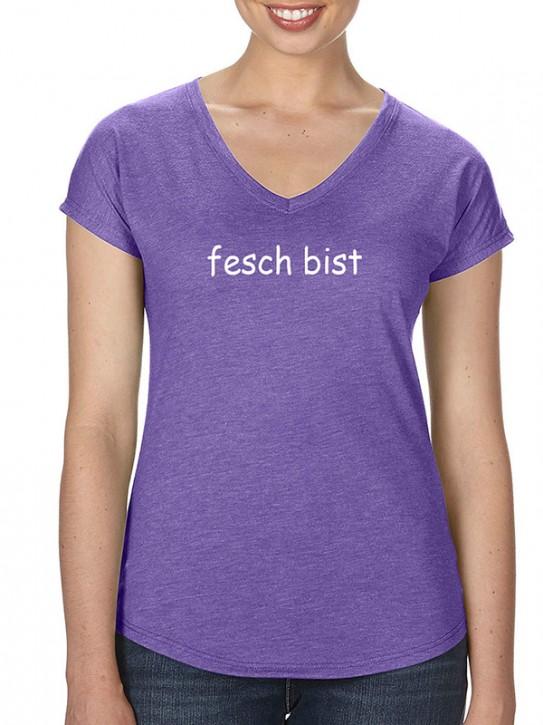 T-Shirt mit Spruch - fesch bist - Bayerisch Damen Lila-meliert
