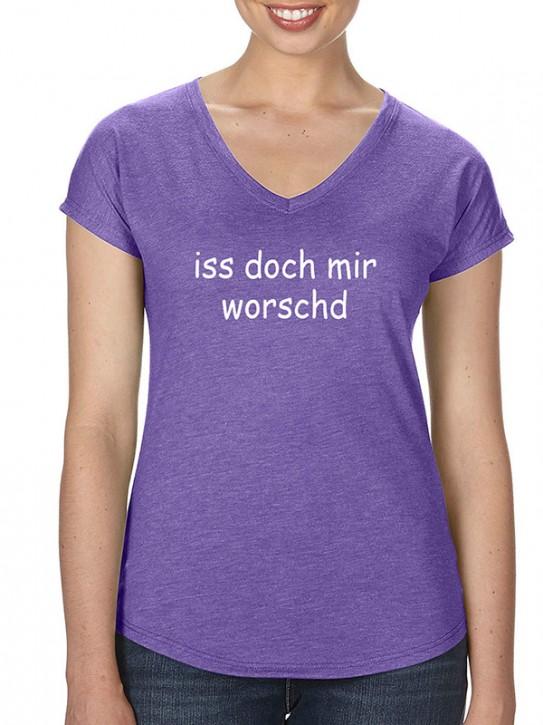 T-Shirt mit Spruch - iss doch mir worschd Fränkisch, Da. Lila-mel.