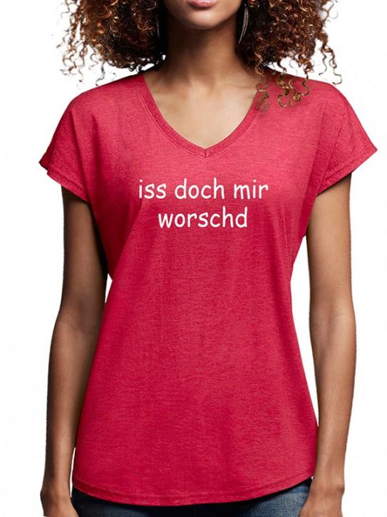 T-Shirt mit Spruch - iss doch mir worschd Fränkisch, Da. Rot-mel.