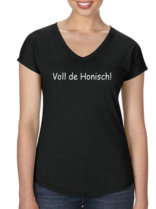 T-Shirt mit Spruch - Voll de Honisch! Hessisch Da. Schwarz