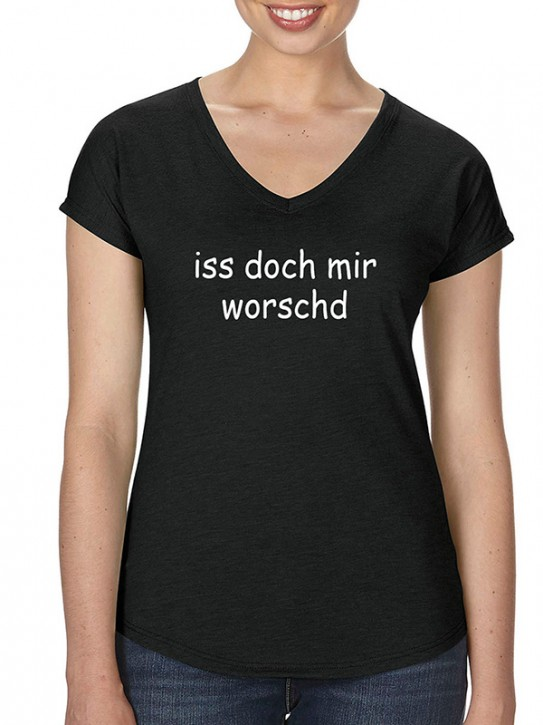 T-Shirt mit Spruch - iss doch mir worschd Fränkisch, Da. Schwarz