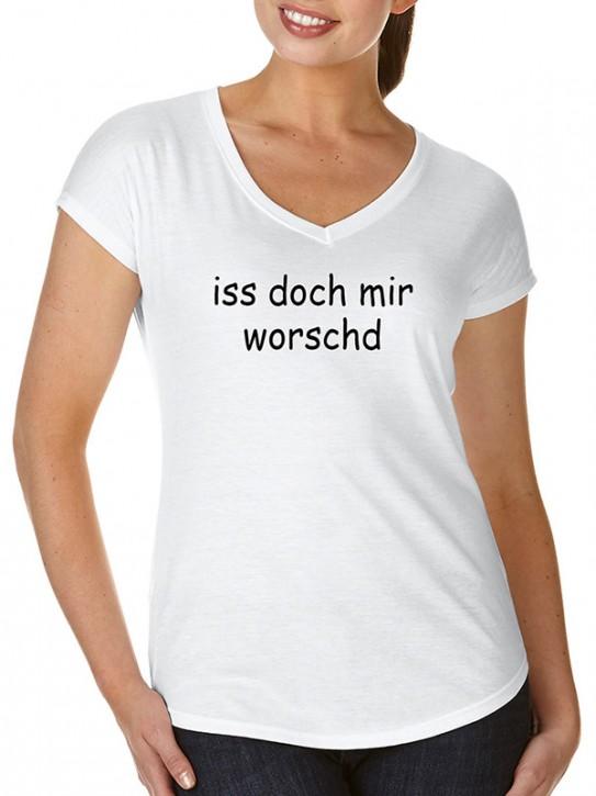 T-Shirt mit Spruch - iss doch mir worschd Fränkisch, Da. Weiß