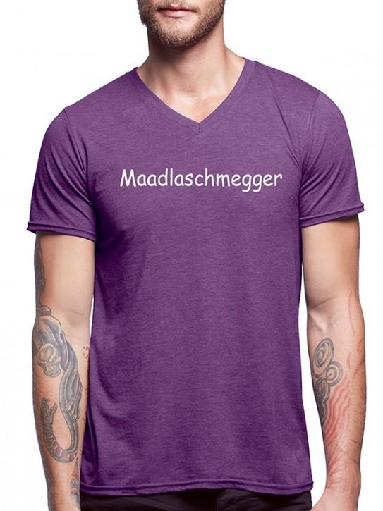 T-Shirt mit Spruch - Maadlaschmegger - Fränkisch Herren Aubergine-mel.