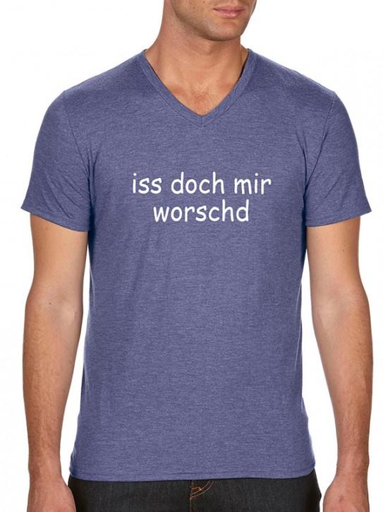 T-Shirt mit Spruch iss doch mir worschd Fränkisch Herren Blau-mel.