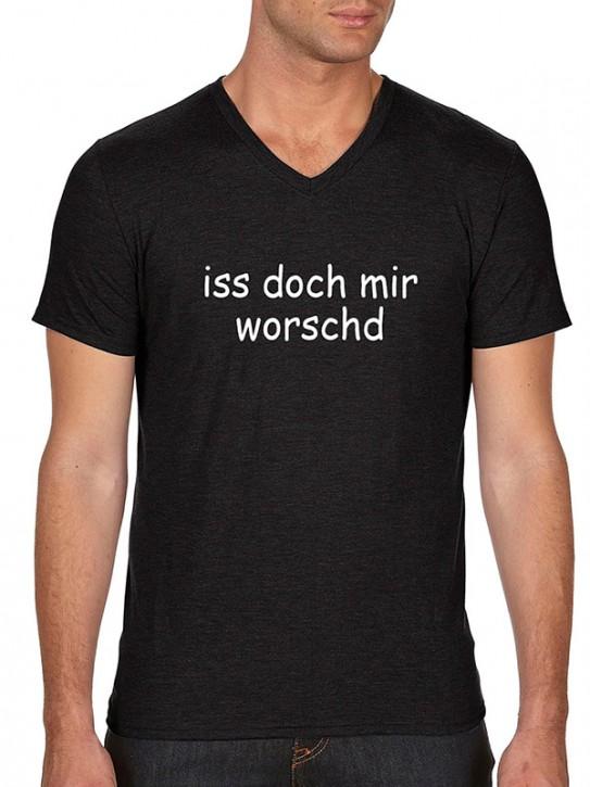 T-Shirt mit Spruch iss doch mir worschd Fränkisch Herren Schwarz