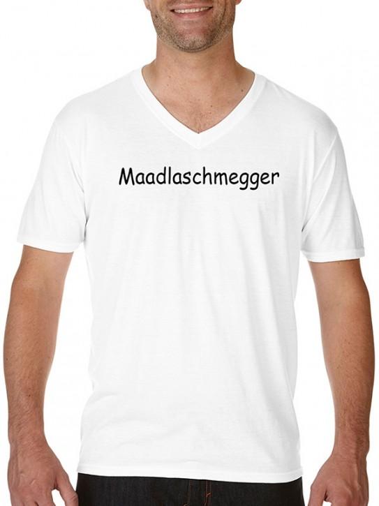 T-Shirt mit Spruch - Maadlaschmegger - Fränkisch Herren Weiß