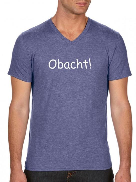 T-Shirt mit Spruch - Obacht! - Bayerisch Herren Blau-meliert