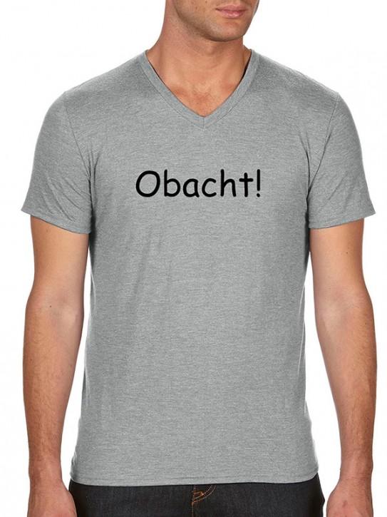 T-Shirt mit Spruch - Obacht! - Bayerisch Herren Grau-meliert