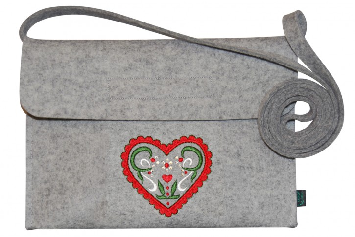 Filztasche Tracht Dirndltasche Stickerei Herz hellgrau