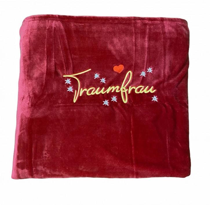 Kuscheldecke mit Stickmotiv Traumfrau, hochwertig bestickt, Decke ca. 150 x 200 cm, Farbe rot, Wohndecke, Tagesdecke