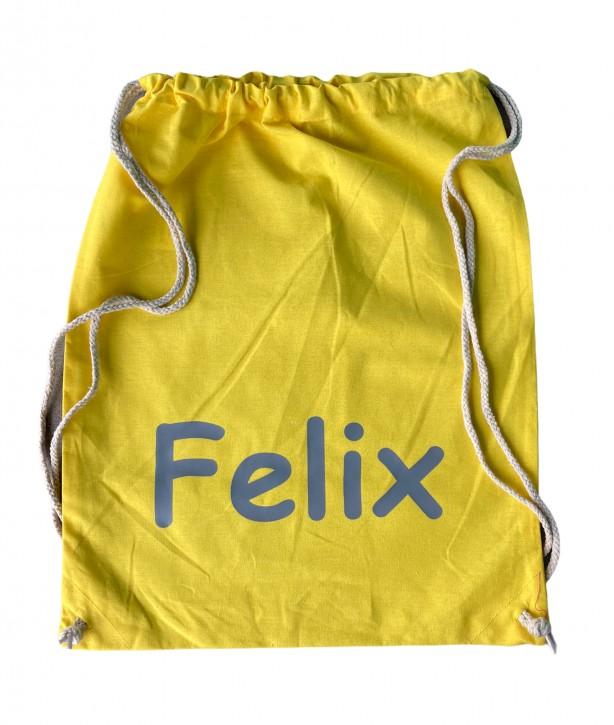 Turnbeutel – Hipster Bag – 45cm x 37cm - Farbe Gelb - Namen nach Wunsch individuell einzugeben – in vielen Druckfarben