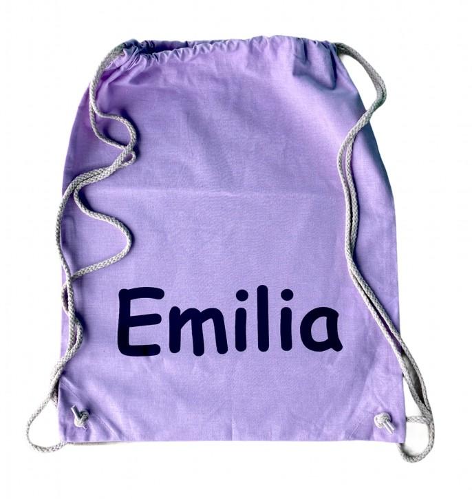 Turnbeutel – Hipster Bag – 45cm x 37cm - Farbe Lavendel - Namen nach Wunsch individuell einzugeben – in vielen Druckfarben