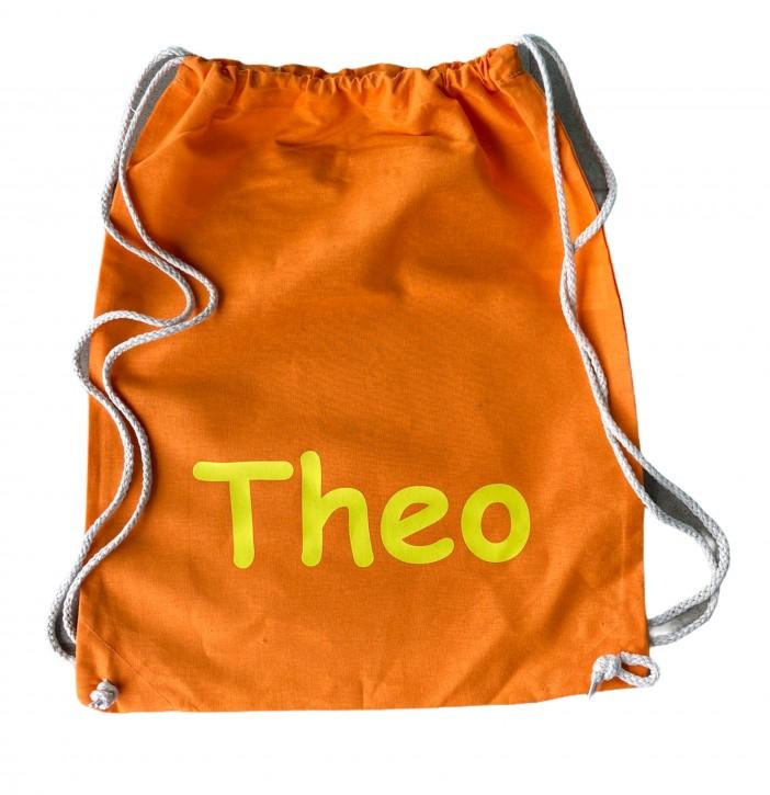 Turnbeutel – Hipster Bag – 45cm x 37cm - Farbe Orange - Namen nach Wunsch individuell einzugeben – in vielen Druckfarben