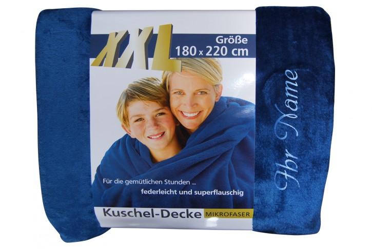 XXL Kuscheldecke mit Namen 180 x 220 cm, marineblau, Stickfarbe/Name zur Auswahl