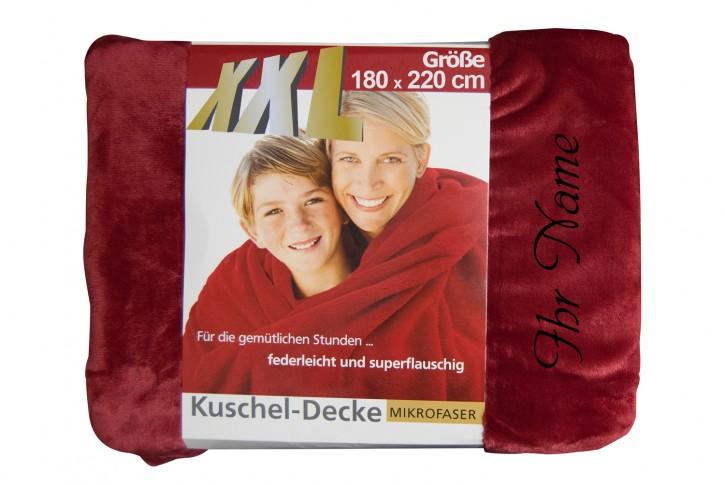 XXL Kuscheldecke mit Namen 180 x 220 cm, rot, Stickfarbe/Name zur Auswahl