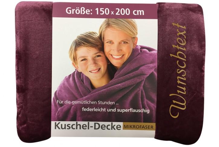 Kuscheldecke mit Namen 150 x 200 cm, beere, Stickfarbe/Name zur Auswahl
