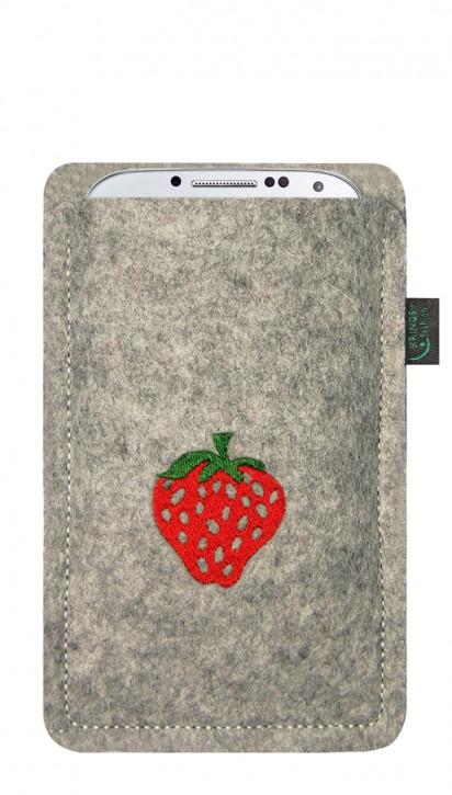 Tasche/Hülle Erdbeere Filz Farbe zur Auswahl - Wähle Smartphone