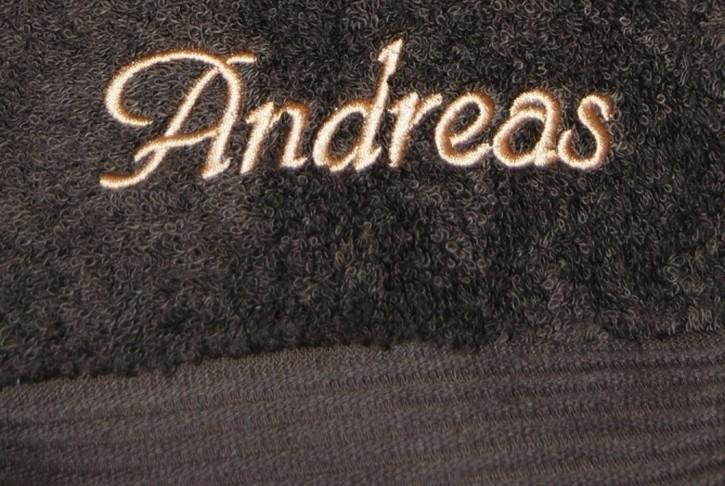 Handtuch mit Name bestickt, 50x100cm, mokka; edel und hautsympathisch, Stickerei