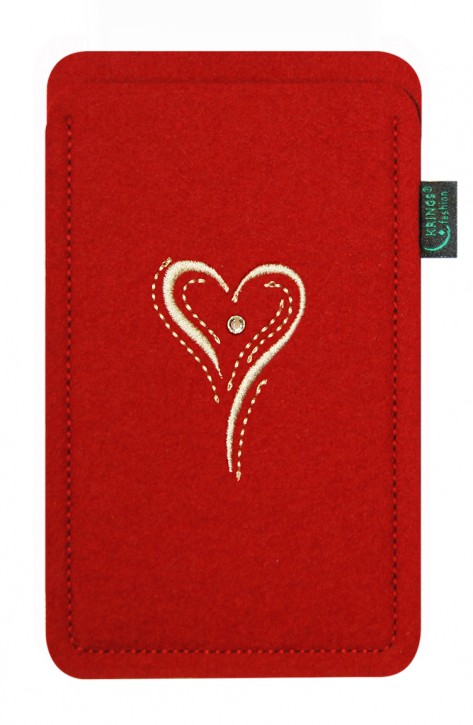 Tasche/Hülle Herz creme Filz Farbe zur Auswahl - Wähle Smartphone