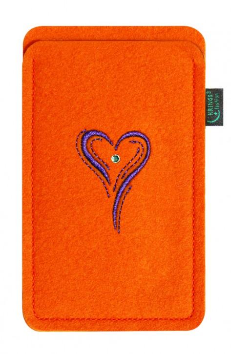 Tasche/Hülle Herz lila Filz Farbe zur Auswahl - Wähle Smartphone