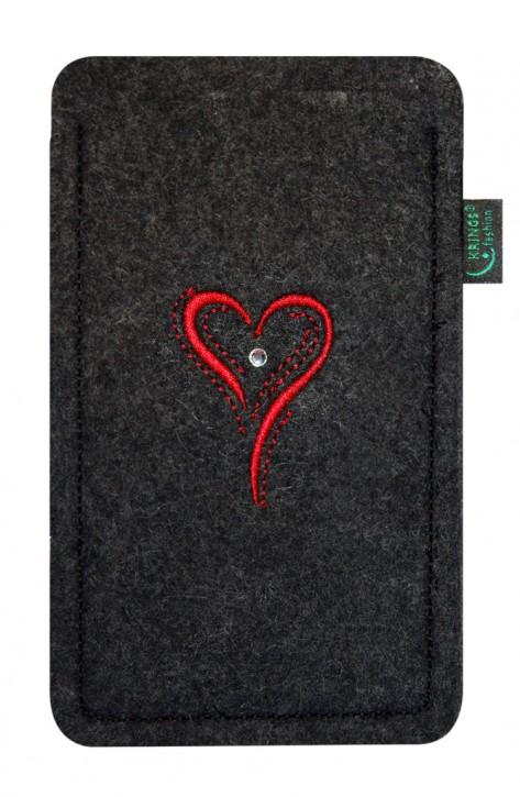 Tasche/Hülle Herz rot Filz Farbe zur Auswahl - Wähle Smartphone
