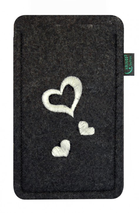 Tasche/Hülle Leucht-Herzen Filz Farbe zur Auswahl - Wähle Smartphone