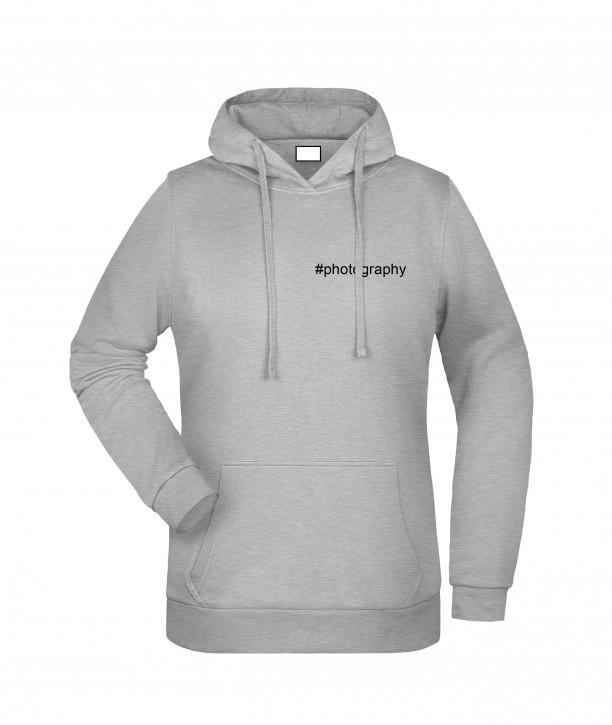 Krings Fashion Damen Kapuzen-Sweatshirt Hoodie, heather-grey, bedruckt mit Hashtag oder nach Wunsch