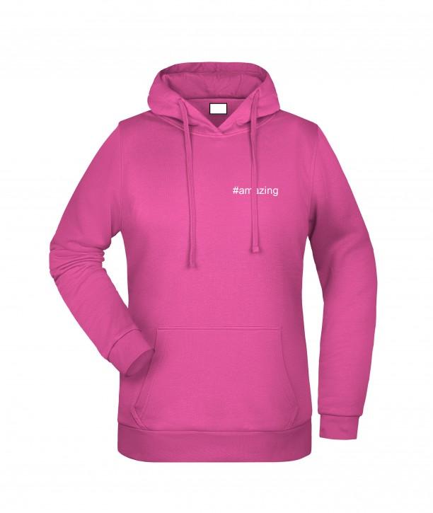 Krings Fashion Damen Kapuzen-Sweatshirt Hoodie, pink, bedruckt mit Hashtag oder nach Wunsch