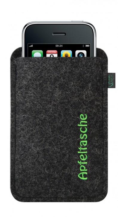 iPhone 3-Tasche/Hülle Apfeltasche Filz anthrazit