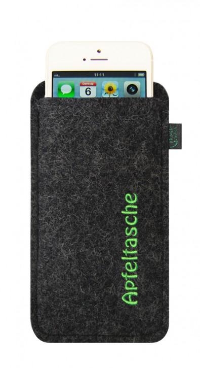iPhone 5-Tasche/Hülle, Apfeltasche, Filzfarbe anthrazit, hochwertig bestickt