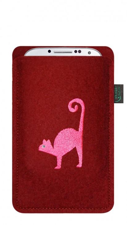 Tasche/Hülle Katze rosa Filz bordeaux - Wähle Smartphone