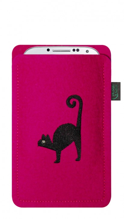 Tasche/Hülle Katze schwarz Filz Farbe zur Auswahl - Wähle Smartphone
