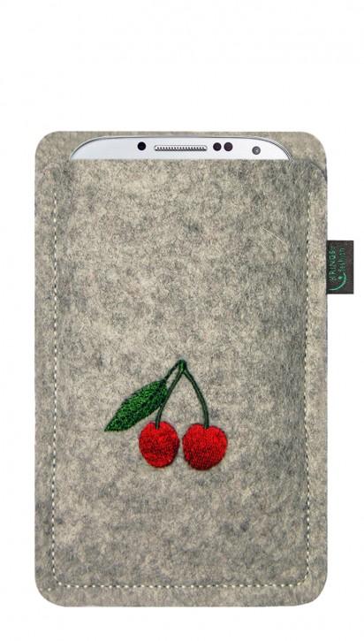 Tasche/Hülle Kirschen Filz Farbe zur Auswahl - Wähle Smartphone