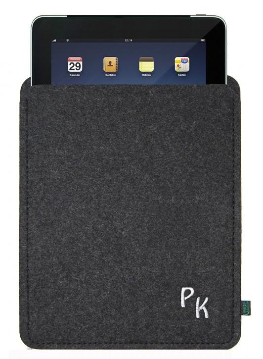 iPad 4 Tasche/Hülle Mono in silber, Filz Anthrazit