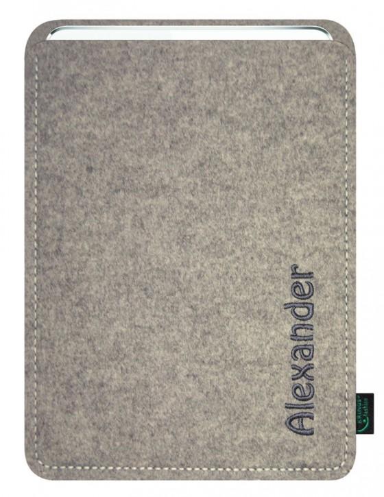 iPad mini 4 Tasche/Hülle individuell Name/Wunschbegriff Filz hellgrau