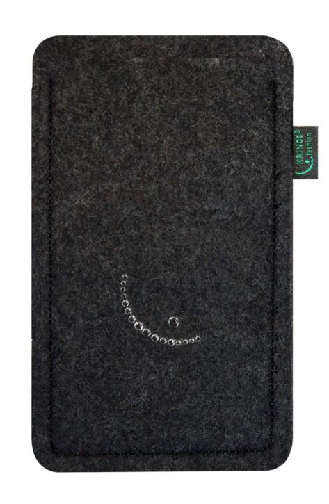 Tasche/Hülle Smiley Swarovski-Kristalle Filz Farbe zur Auswahl - Wähle Smartphone