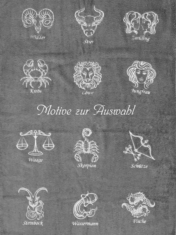 Flauschige Kuscheldecke Decke Stickerei bestickt Sternzeichen Krebs Name