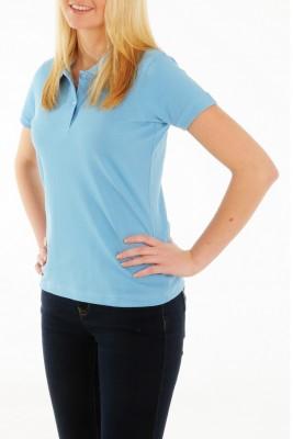 KringsFashion® Damen-Poloshirt Fine Line, tailliert, Farbe hellblau