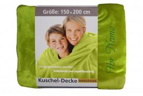 Kuscheldecke mit Namen 150 x 200 cm, grün, Stickfarbe/Name zur Auswahl