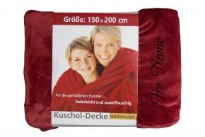 Kuscheldecke mit Namen 150 x 200 cm, rot, Stickfarbe/Name zur Auswahl