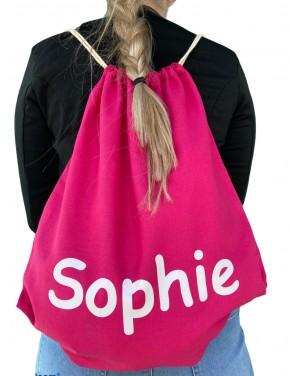 Turnbeutel – Hipster Bag – 45cm x 37cm - Farbe Pink - Namen nach Wunsch individuell einzugeben – in vielen Druckfarben