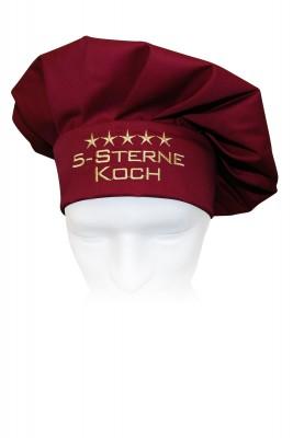 Kochmütze 5-Sterne-Koch, hochwertig bestickt, Farbe cherry/bordeaux