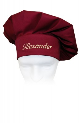 Kochmütze mit Name, individuell bestickt, Farbe cherry/bordeaux