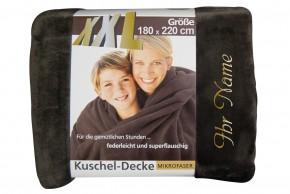 XXL Kuscheldecke mit Namen 180 x 220 cm, braun, Stickfarbe/Name zur Auswahl